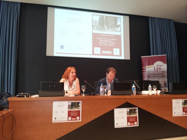 Los Dres. Eva Garrido (Univ. de Cádiz) y Cristóbal Molina (Univ de Jaén y candidato  a Rector de dicha Universidad)